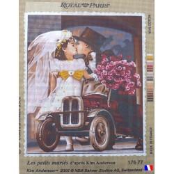 Canevas à broder 45 x 65 cm marque ROYAL PARIS thème les petits mariés par Kim ANDERSON fabrication française