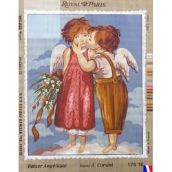 Canevas à broder 45 x 65 cm marque ROYAL PARIS thème baiser angélique d'après A.CORSINI made in France