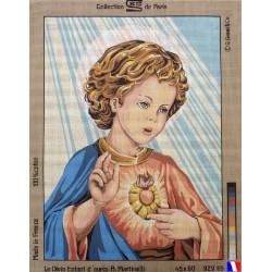 Canevas à broder 45 x 65 cm marque ROYAL PARIS thème le divin enfant d'après A.Matinelli made i France