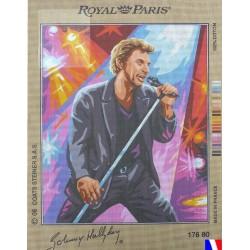 Canevas à broder 45X60 cm marque ROYAL PARIS thème JOHNNY HALLYDAY avec signature fabrication française