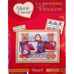 kit broderie MARGOT CREATION DE PARIS MARIE COEUR tableau point de croix pele-mele MES DOUDOUS