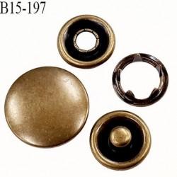 bouton pression à griffe métal couleur laiton ancien 5 griffes diamètre 15 mm ensemble de 4 pièces par bouton