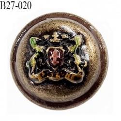 bouton 27 mm en métal style ancien ancien motif en couleur accroche avec un anneau diamètre 27 millimètres