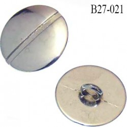 bouton 27 mm couleur chromé brillant en métal accroche avec un anneau au dos diamètre 27 mm