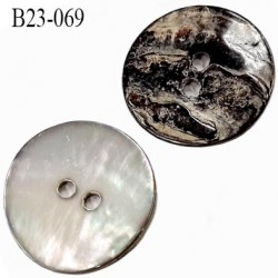 bouton diamètre 23 mm en nacre 2 trous diamètre 23 mm