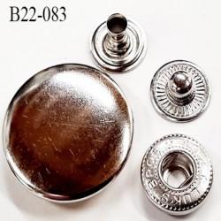 bouton pression  22 mm en métal couleur chromé diamètre 22 mm ensemble composé de 4 pièces par bouton