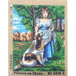 Canevas à broder 50 x 60 cm  thème FILLETTE AU CHIEN retouché main
