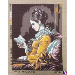 Canevas à broder 50 x 60 cm  thème JEUNE FILLE LISANT d'après Fragonard retouché main made in France