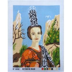 Canevas à broder 50 x 60 cm  thème LA COIFFE BRETONNE