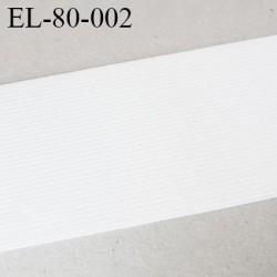 élastique plat  80 mm  très belle qualité oeko tex couleur blanc doux au touché fabriqué en Europe largeur prix au mètre