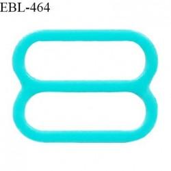 Réglette 14 mm de réglage de bretelle pour soutien gorge et maillot de bain en pvc couleur bleu vert  prix à l'unité