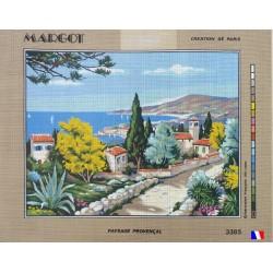 Canevas à broder 50 x 65 cm marque MARGOT création de Paris thème paysage provençal fabrication française