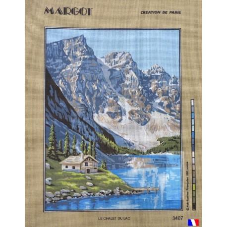 Canevas à broder 50 x 65 cm marque MARGOT création de Paris thème le chalet du lac fabrication française