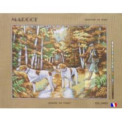 Canevas à broder 50 x 65 cm marque MARGOT création de Paris thème chasse en foret fabrication française