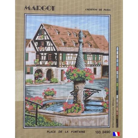 Canevas à broder 50 x 65 cm marque MARGOT création de Paris thème place de la fontaine fabrication française