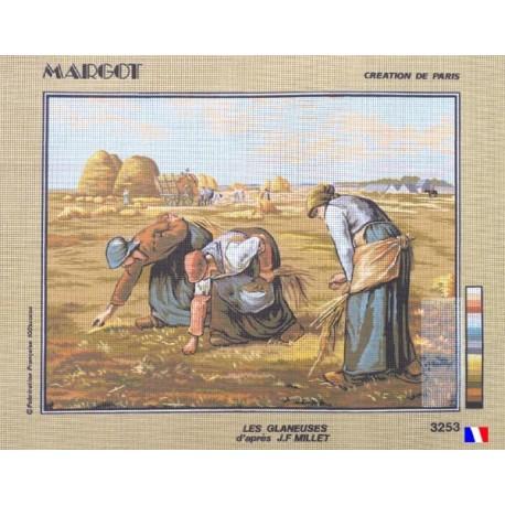 Canevas à broder 50 x 65 cm marque MARGOT création de Paris thème les glaneuses d'après J.F MILLET fabrication française