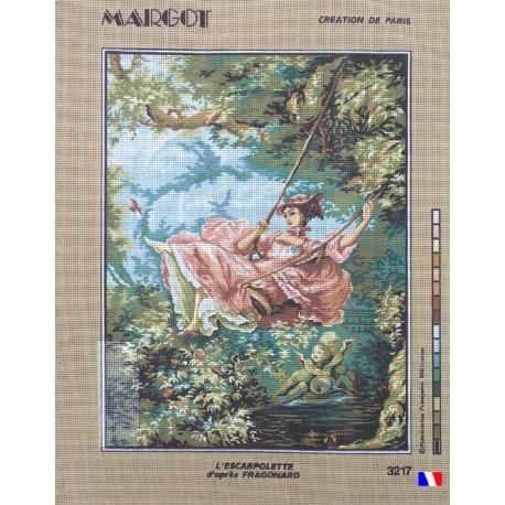 Canevas à broder 50 x 65 cm marque MARGOT création de Paris thème l'escarpolette d'après FRAGONARD fabrication française