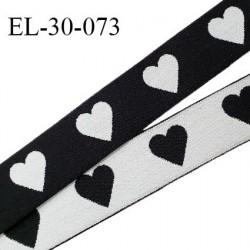 Elastique 30 mm spécial lingerie sport et caleçon oeko tex motifs coeurs couleur noir et blanc prix au mètre