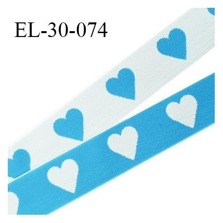 Elastique 30 mm spécial lingerie sport et caleçon oeko tex motifs coeurs couleur bleu et blanc prix au mètre