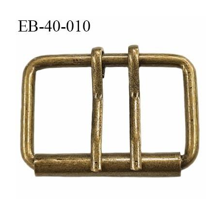 Boucle ceinture 40 mm avec double ardillon métal style laiton ancien largeur intérieur 4 cm  hauteur 35 mm  extérieur 48 mm