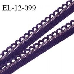Elastique picot 12 mm lingerie haut de gamme couleur violet foncé (nuit ambrée) fabriqué en France largeur 12 mm prix au mètre