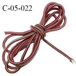 Cordon ou lacet 5 mm en polyamide multicolore et cordon intérieur en coton très solide diamètre 5 mm prix au mètre