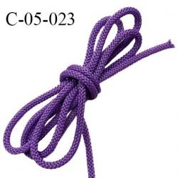 Cordon 5 mm en polyamide couleur mauve et cordon intérieur en coton très solide diamètre 5 mm prix au mètre