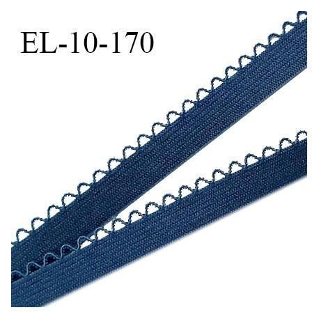 Elastique picot 10 mm lingerie couleur bleu cyprès largeur 10 mm haut de gamme Fabriqué en France prix au mètre