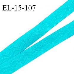 Elastique 15 mm anti glisse couleur bleu turquoise haut de gamme largeur 15 mm prix au mètre