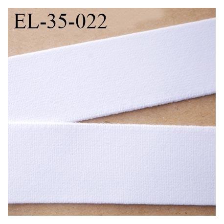 élastique 35 mm aspect velours spécial lingerie et sport très belle qualité couleur blanc  doux certifié oeko tex prix au mètre