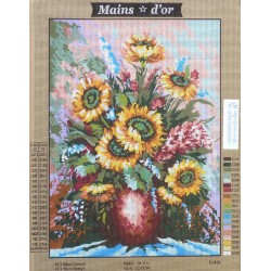 """Canevas à broder 50 x 60 cm marque MAINS D'OR thème """"bouquet de tournesols"""""""
