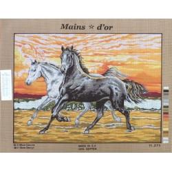 """Canevas à broder 50 x 60 cm marque MAINS D'OR thème """"les chevaux"""""""
