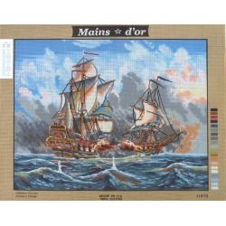 "Canevas à broder 50 x 60 cm marque MAINS D'OR thème ""bataille navale"""