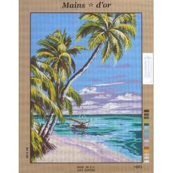 """Canevas à broder 50 x 60 cm marque MAINS D'OR thème """"plage tropicale palmiers"""""""