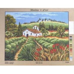 """Canevas à broder 50 x 60 cm marque MAINS D'OR thème """"église provençale au milieu des champs"""""""