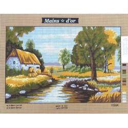 """Canevas à broder 40 x 60 cm marque MAINS D'OR thème """"chaumière au bord de la rivière"""""""
