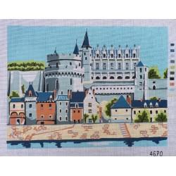 """Canevas à broder 40 x 60 cm thème """"chateau de la Loire AMBOISE"""" finition retouché à la main artisanale"""