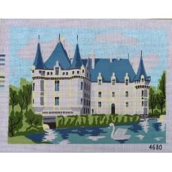 """Canevas à broder 40 x 60 cm thème """"AZAY LE RIDEAU chateau de la Loire """" finition retouché à la main artisanale"""