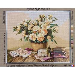 Canevas à broder 45 x 60 cm marque ROYAL PARIS thème la lettre parfumée d'après Wouters ROELOF fabrication française