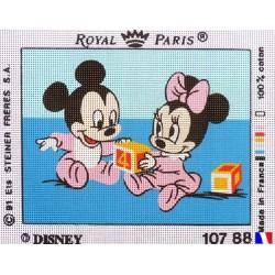 """Canevas à broder 22 x 30 cm marque ROYAL PARIS thème DISNEY """"bébé Mickey et Minnie"""" fabrication française"""