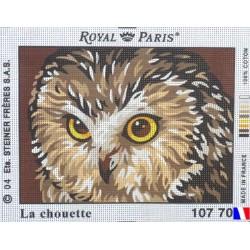 Canevas à broder 22 x 30 cm marque ROYAL PARIS thème LA CHOUETTE fabrication française