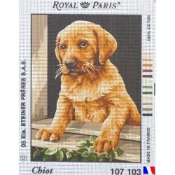 Canevas à broder 22 x 30 cm marque ROYAL PARIS thème CHIOT fabrication française