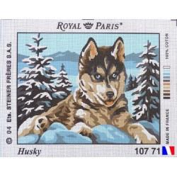 Canevas à broder 22 x 30 cm marque ROYAL PARIS thème HUSKY fabrication française
