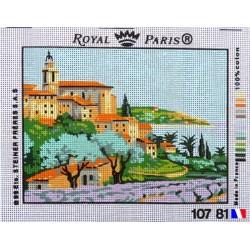 """Canevas à broder 22 x 30 cm marque ROYAL PARIS thème """"paysage méditerranéen"""" fabrication française"""