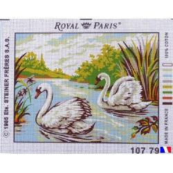 Canevas à broder 22 x 30 cm marque ROYAL PARIS thème CYGNES fabrication française
