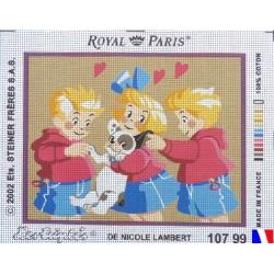 Canevas à broder 22 x 30 cm marque ROYAL PARIS thème LES TRIPLES de Nicole LAMBERT fabrication française