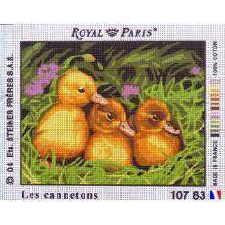 Canevas à broder 22 x 30 cm marque ROYAL PARIS thème LES CANNETONS fabrication française