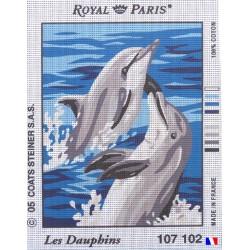 Canevas à broder 22 x 30 cm marque ROYAL PARIS thème LES DAUPHINS fabrication française