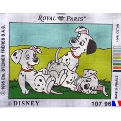 Canevas à broder 22 x 30 cm marque ROYAL PARIS thème DISNEY les 101 dalmatiens fabrication française
