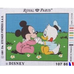 Canevas à broder 22 x 30 cm marque ROYAL PARIS thème DISNEY bébé Mickey et Donald fabrication française